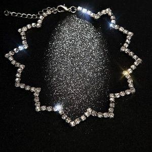 New Wave Rhinestone Choker Necklace
